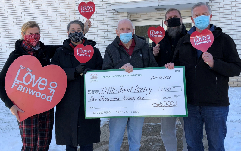 The Fanwood Community Foundation presented a $2,021 grant check to the local IHM Food Pantry in Scotch Plains.